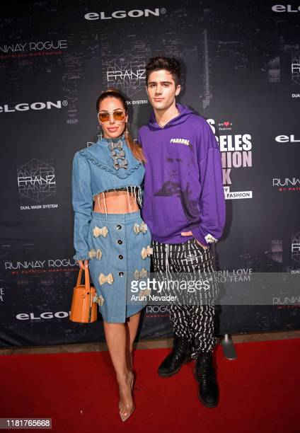 Sara Dastjani and Max Ehrich backstage during Los Angeles Fashion Week SS/20 Powered by Art Hearts Fashion Day 1 on October 17 2019 in Los Angeles...