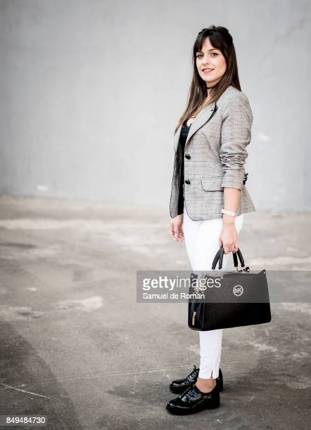 Sara de la Rosa Osorio wears Pilar Prieto jacket Stradivarius jeans Pull and Bear Shoes and Woman Secret Tshirt during MercedesBenz Fashion Week...