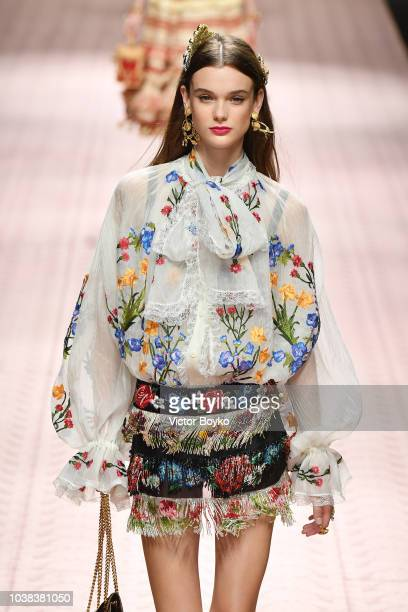 Sara Dijkink walks the runway at the Dolce Gabbana show during Milan Fashion Week Spring/Summer 2019 on September 23 2018 in Milan Italy