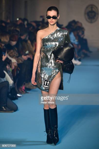 Sara Dijkink walks the runway during the OffWhite show as part of the Paris Fashion Week Womenswear Fall/Winter 2018/2019 on March 1 2018 in Paris...