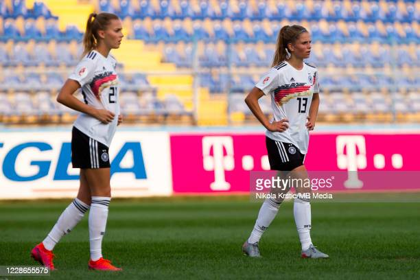Sara DoorsounKhajeh of Germany and Sara Dabritz of Germany react during the UEFA Women's EURO 2022 Qualifier match between Montenegro and Germany at...