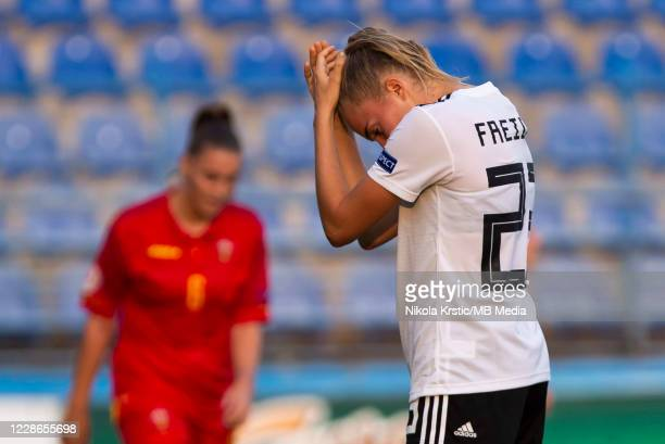 Sara DoorsounKhajeh of Germany reacts during the UEFA Women's EURO 2022 Qualifier match between Montenegro and Germany at Pod Goricom on September 22...