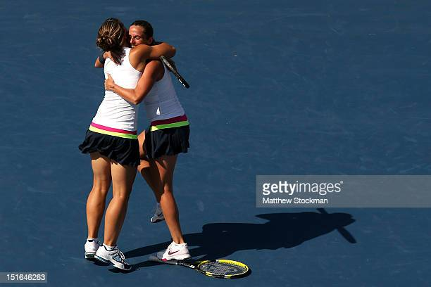 Sara Errani and Roberta Vinci of Italy celebrate match point following their victory against Andrea Hlavackova and Lucie Hradecka of the Czech...