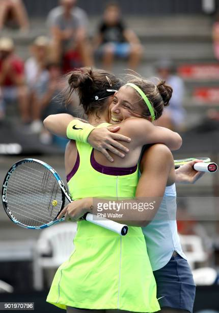 Sara Errani of Italy and Bibiane Schoofs of Netherlands celebrate their Womens Doubles Final win against Eri Hozumi and Miyu Kato of Japan during day...