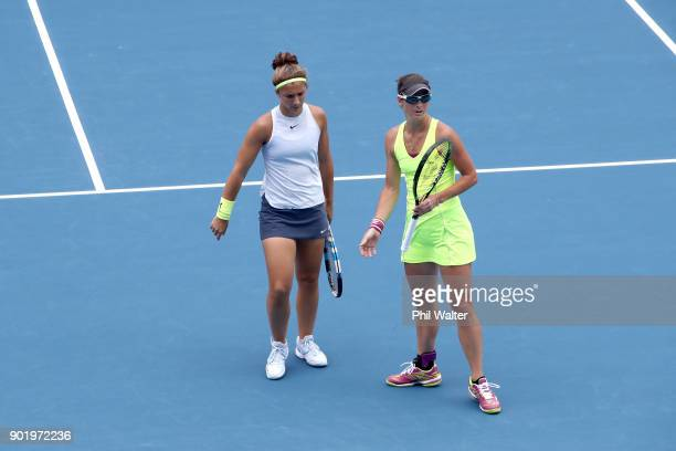 Sara Errani of Italy and Bibiane Schoofs of Netherlands during their Womens Doubles Final against Eri Hozumi and Miyu Kato of Japan during day seven...