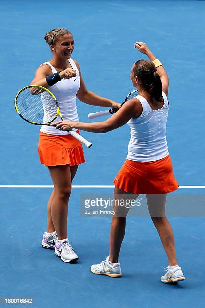 Sara Errani of Italy and Roberta Vinci of Italy celebrate winning their final doubles match against Ashleigh Barty of Australia and Casey Dellacqua...