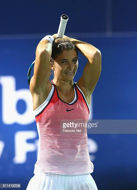 Sara Errani of Italy celebrate defeating Barbora Strycova of Czech Republic during the women's final match of the WTA Dubai Duty Free Tennis...