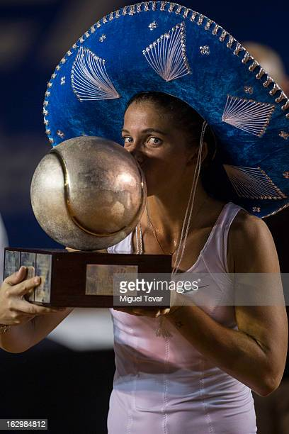 Sara Errani of Italy celebrates after winning the final women match against Carla Suarez of Spain as part of the Mexican Tennis Open Acapulco 2013 at...