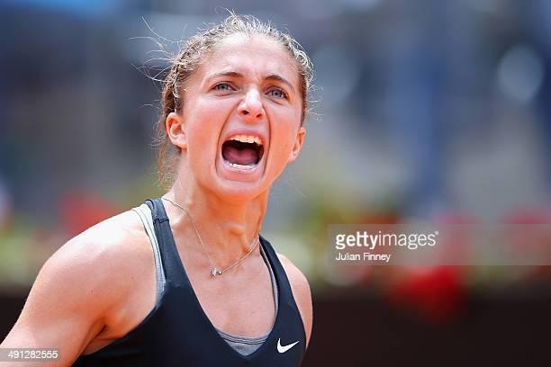 Sara Errani of Italy celebrates defeating Li Na of China during day six of the Internazionali BNL d'Italia tennis 2014 on May 16 2014 in Rome Italy