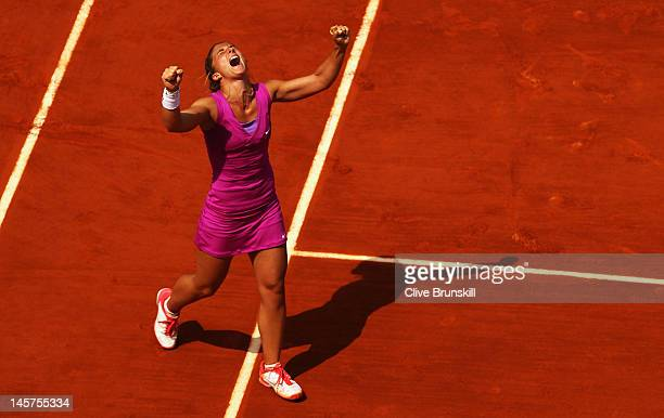 Sara Errani of Italy celebrates victory after her women's singles quarter final match against Angelique Kerber of Germany during day 10 of the French...