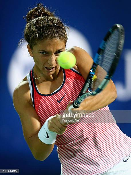 Sara Errani of Italy in action against Barbora Strycova of Czech Republic during the women's final match of the WTA Dubai Duty Free Tennis...