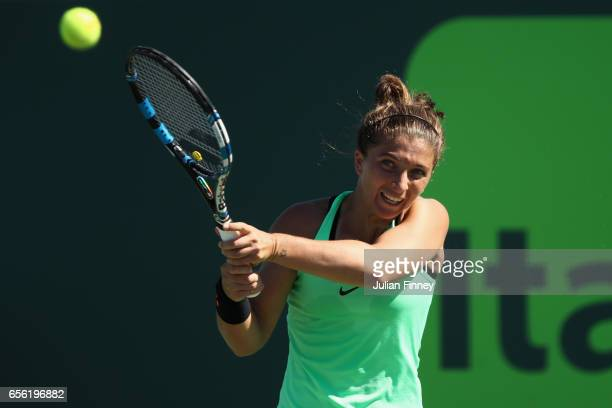 Sara Errani of Italy in action against Belinda Bencic of Switzerland at Crandon Park Tennis Center on March 21 2017 in Key Biscayne Florida