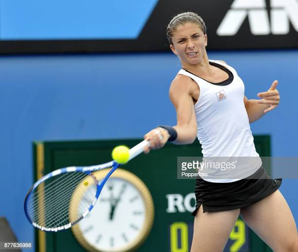 Sara Errani of Italy in action against Sorana Cirstea of Romania during a Ladies Singles 3rd round match on day six of the 2012 Australian Open at...