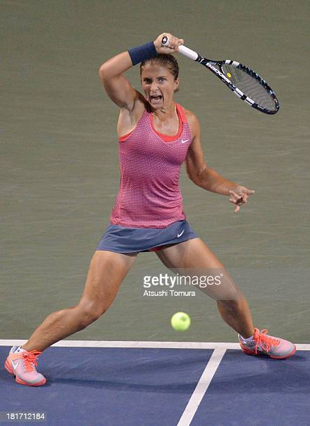 Sara Errani of Italy in action during her women's singles second round match against Svetlana Kuznetsova of Russia during day three of the Toray Pan...