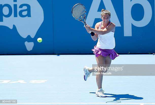 Sara Errani of Italy plays a backhand in her match against Carla Suarez Navarro of Spain during day two of the 2016 Sydney International at Sydney...