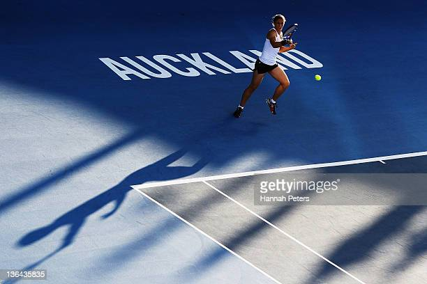 Sara Errani of Italy plays a forehand against Svetlana Kuznetsova of Russia during day four of the 2012 ASB Classic at ASB Tennis Centre on January 5...