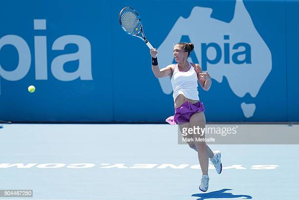 Sara Errani of Italy plays a forehand in her match against Carla Suarez Navarro of Spain during day two of the 2016 Sydney International at Sydney...