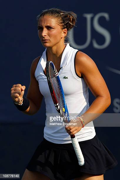 Sara Errani of Italy reacts after a point against Alisa Kleybanova of Russia during her second round women's singles match on day three of the 2010...