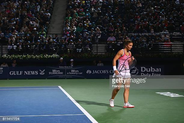 Sara Errani of Italy reacts during the women's final match of the WTA Dubai Duty Free Tennis Championship at the Dubai Duty Free Stadium on February...