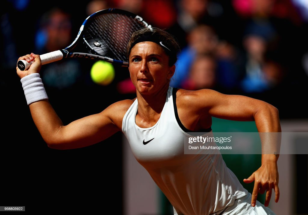 Sara Errani of Italy returns a forehand in her match against Timea Babos of Hungary during day 3 of the Internazionali BNL d'Italia 2018 tennis at Foro Italico on May 15, 2018 in Rome, Italy.
