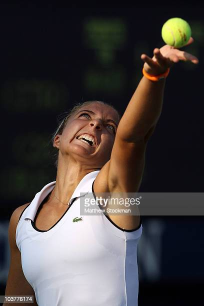 Sara Errani of Italy serves against Alisa Kleybanova of Russia during her second round women's singles match on day three of the 2010 US Open at the...