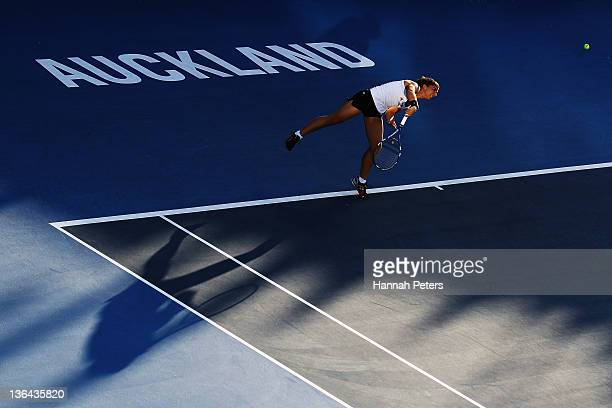 Sara Errani of Italy serves against Svetlana Kuznetsova of Russia during day four of the 2012 ASB Classic at ASB Tennis Centre on January 5 2012 in...