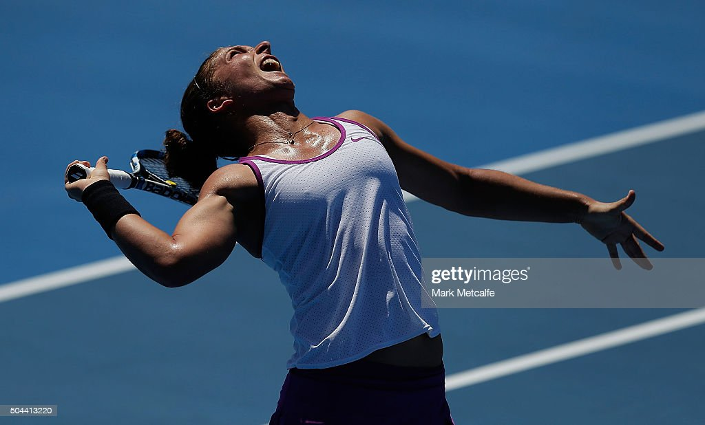 Sara Errani of Italy serves in her match against Carla Suarez Navarro of Spain during day two of the 2016 Sydney International at Sydney Olympic Park Tennis Centre on January 11, 2016 in Sydney, Australia.
