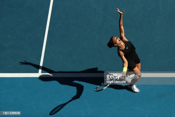 Sara Errani of Italy serves in her Women's Singles second round match against Venus Williams of the United States of America during day three of the...