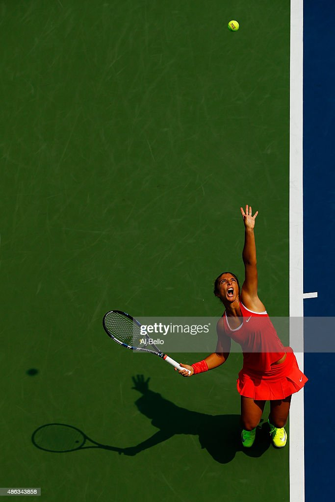 Sara Errani of Italy serves to Jelena Ostapenko of Latvia during their Women's Singles Second Round match on Day Four of the 2015 US Open at the USTA Billie Jean King National Tennis Center on September 3, 2015 in the Flushing neighborhood of the Queens borough of New York City.