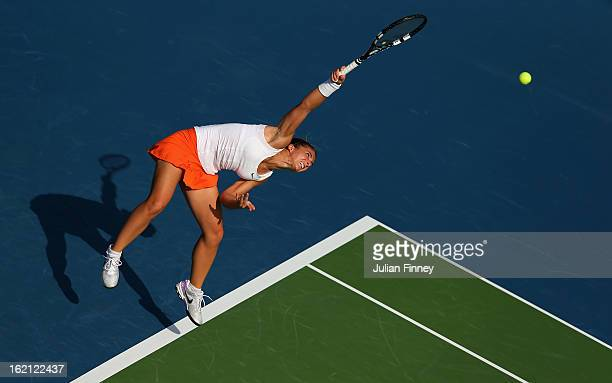 Sara Errani of Italy serves to Julia Goerges of Germany during day two of the WTA Dubai Duty Free Tennis Championship on February 19 2013 in Dubai...