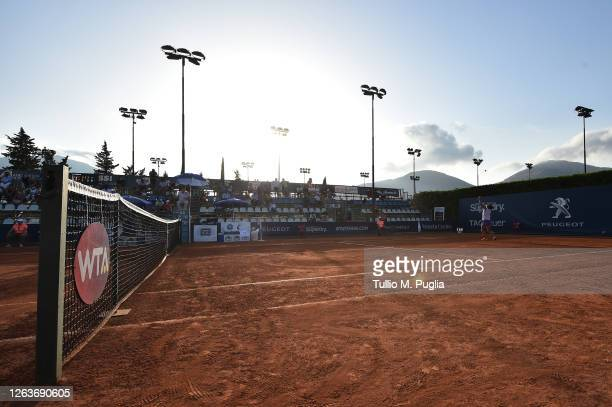 Sara Errani of Italy serves to Sorana Cirstea of Romania during the 31st Palermo Ladies Open - Day One on August 03, 2020 in Palermo, Italy.