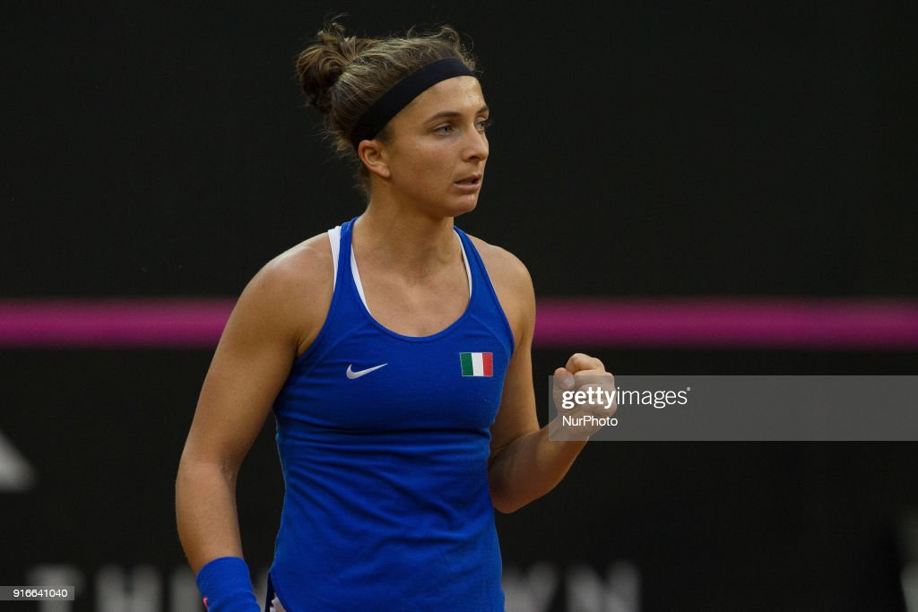 """Sara Errani of Italy Team during 2018 Fed Cup BNP Paribas World Group II First Round match between Italy and Spain at Pala Tricalle """"Sandro Leombroni"""" on February 10, 2018 in Chieti, Italy."""