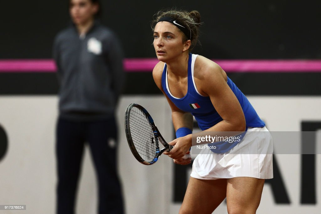 "Sara Errani of Italy team during 2018 Fed Cup BNP Paribas World Group II First Round match between Italy and Spain at Pala Tricalle ""Sandro Leombroni"" on February 11, 2018 in Chieti, Italy."