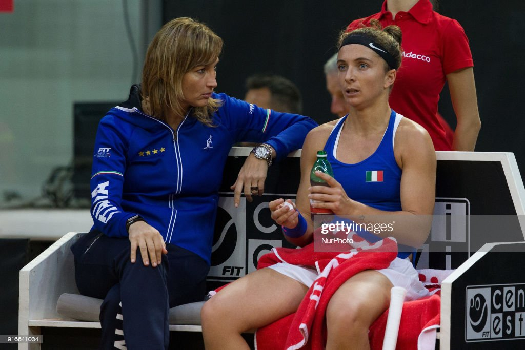 """Sara Errani of Italy Team talk wit Tatiana Garbin captain of Italy team during 2018 Fed Cup BNP Paribas World Group II First Round match between Italy and Spain at Pala Tricalle """"Sandro Leombroni"""" on February 10, 2018 in Chieti, Italy."""