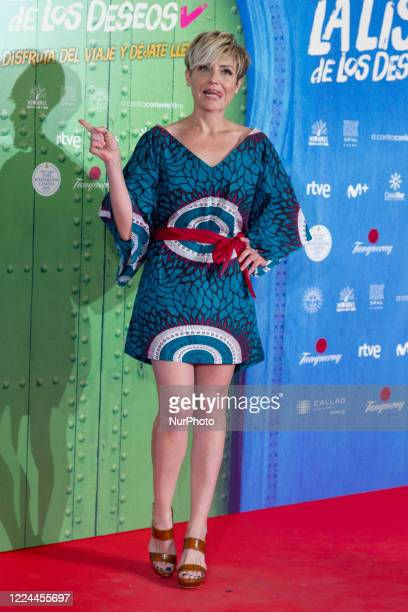 Sara Escudero poses for the photographers during the premiere of the film 'La lista de deseos' directed by Spanish film maker Alvaro Diaz Lorenzo at...