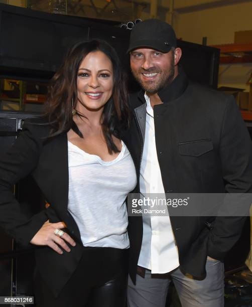 Sara Evans and Jay Barker attend SiriusXM presents the Eagles in their first ever concert at the Grand Ole Opry House on October 29 2017 in Nashville...