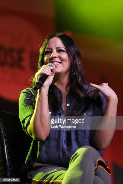Sara Evans is interviewed on the CMA Close Up Stage during the 2018 CMA Music festival at the on June 7 2018 in Nashville Tennessee