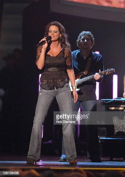 Sara Evans performs 'Real Fine Place to Start' during The 40th Annual CMA Awards Show at Gaylord Entertainment Center in Nashville Tennessee United...