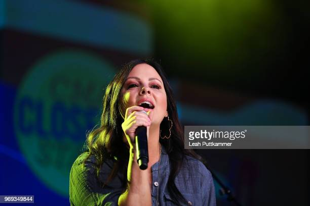 Sara Evans perofrms on the CMA Close Up Stage during the 2018 CMA Music festival at the on June 7 2018 in Nashville Tennessee