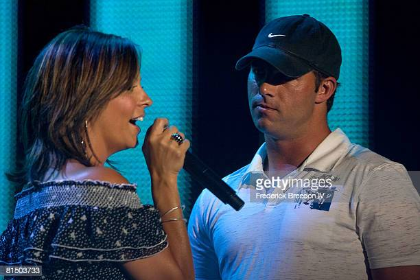 Sara Evans sings to her Fianc Jay Barker during a performance at the VAULT Concert Stages during the 2008 CMA Music Festival on June 8 2008 at LP...