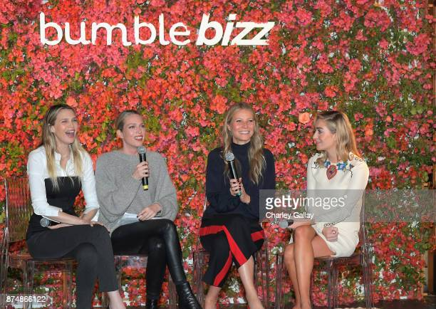 Sara Foster Erin Foster Gwyneth Paltrow and Whitney Wolfe Herd speak onstage Bumble Bizz Los Angeles Launch Dinner At Nobu Malibu at Nobu Malibu on...