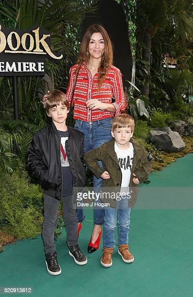 Sara Gallagher with sons Donovan and Sonny arrive for the European premiere of 'The Jungle Book' at BFI IMAX on April 13 2016 in London England