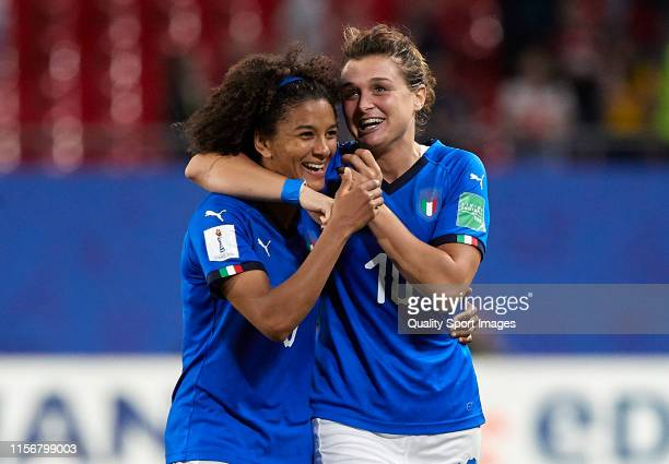 Sara Gama and Cristina Girelli of Italy celebrating the qualification of their team at the end of the 2019 FIFA Women's World Cup France group C...