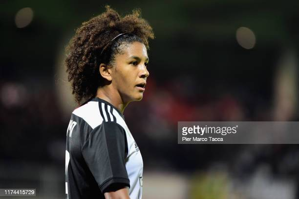 Sara Gama of FC Juventus Women looks during the Women's Champions League round of 32 match between Juventus and Barcelona at Stadio Giuseppe...