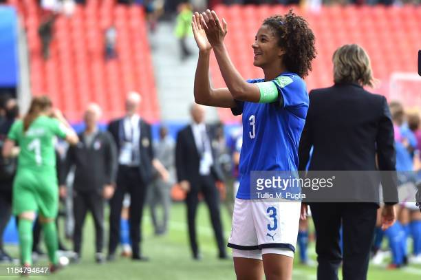 Sara Gama of Italy celebrates after scoring the 2019 FIFA Women's World Cup France group C match between Australia and Italy at Stade du Hainaut on...