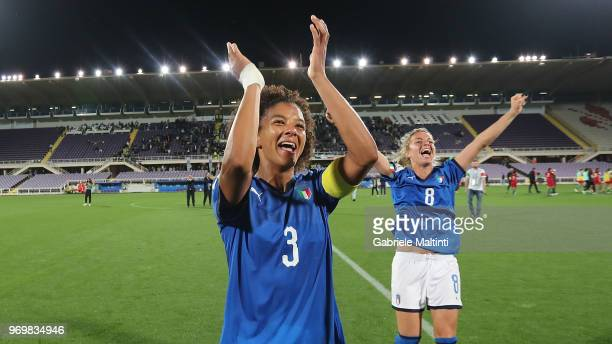 Sara Gama of Italy celebrates the victory after during the 2019 FIFA Women's World Cup Qualifier match between Italy and Portugal at Stadio Artemio...