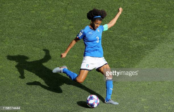 Sara Gama of Italy clears the ball in the first half against China during the 2019 FIFA Women's World Cup France Round Of 16 match between Italy and...