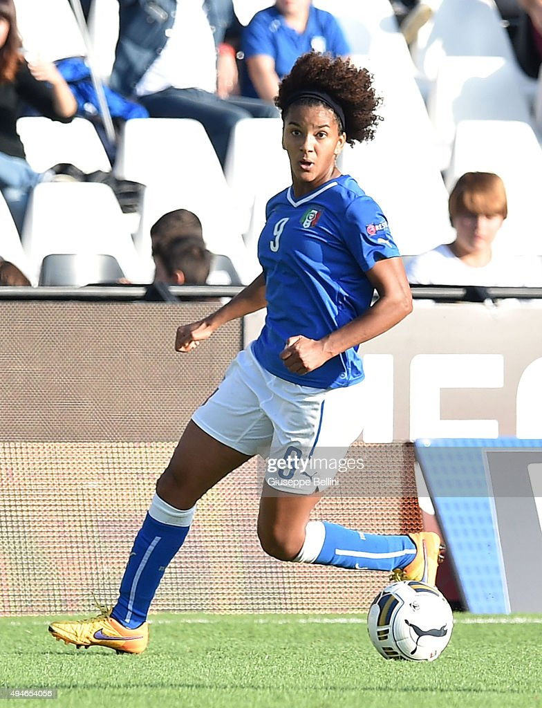 Sara Gama of Italy in action during the UEFA Women's Euro 2017 Qualifier between Italy and Switzerland at Dino Manuzzi Stadium on October 24, 2015 in Cesena, Italy.