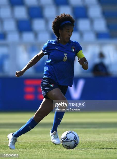 Sara Gama of Italy in action during the women international friendly match between Italy and Netherlands at Stadio Paolo Mazza on June 10, 2021 in...