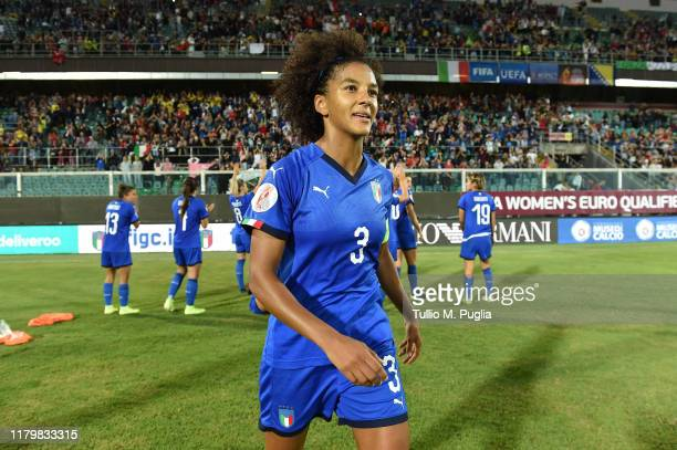 Sara Gama of Italy looks on after winning the UEFA Women's European Championship 2021 qualifier match between Italy and Bosnia and Herzegovina at...